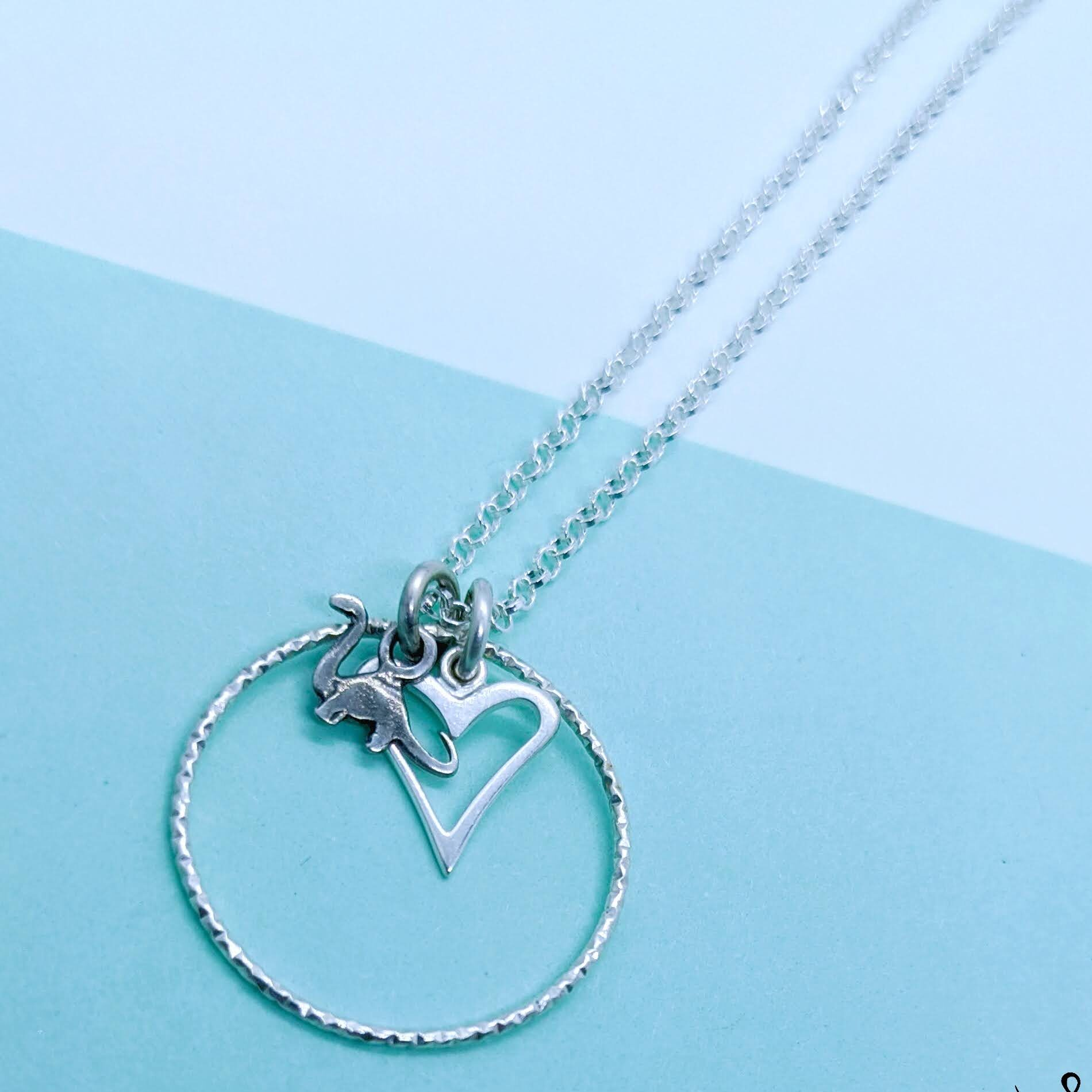 V-Heart with Brontosaurus Tag Necklace