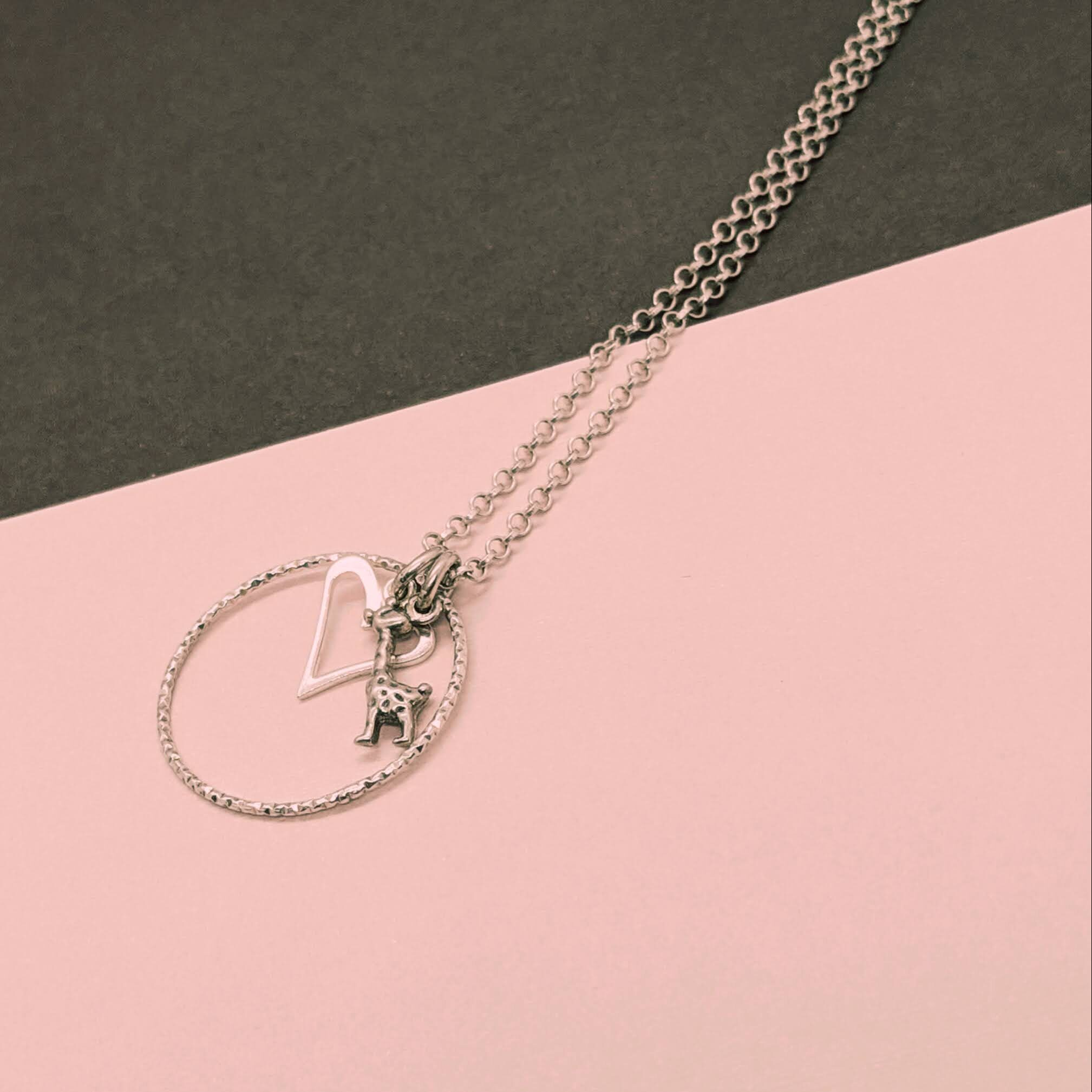 V-Heart with Giraffe Tag Charm Necklace