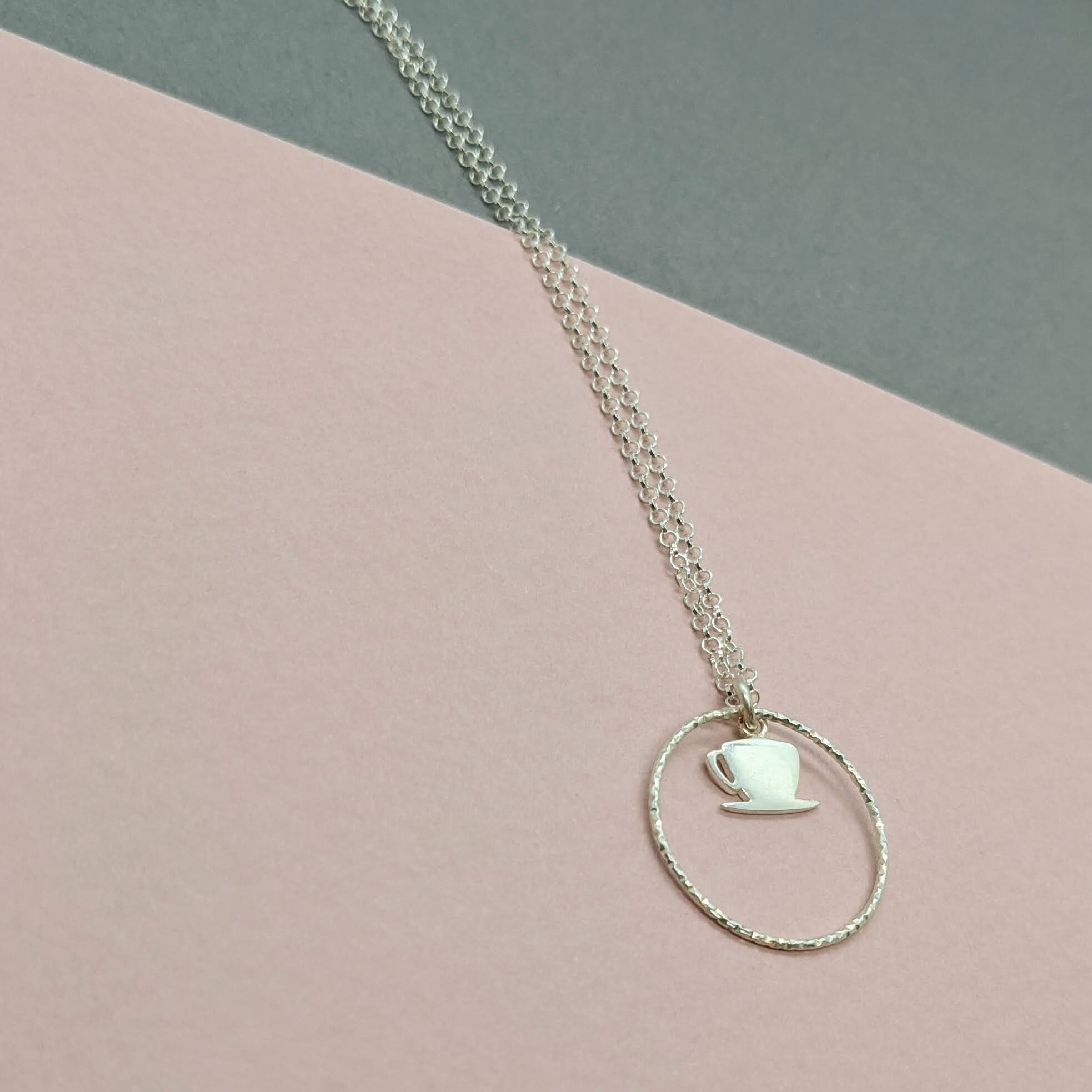 Its good to Talk Tea Cup Charm Necklace